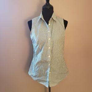 Striped Sleeveless Button Down Shirt